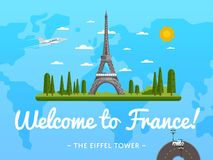 Welcome to France poster with famous attraction. Vector illustration. Travel design with Eiffel Tower. Time to travel concept with France architectural landmark Stock Photography