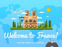 Welcome to France poster with famous attraction Royalty Free Stock Image