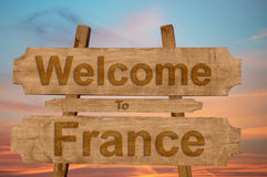 Welcome to France sing on wood background Stock Images