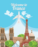 Welcome to France. Travel French landmarks. French vector icons. Travel France panorama background Stock Photography