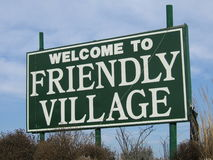 Welcome to friendly village. Sign Royalty Free Stock Image