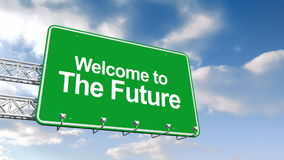 Welcome to the future sign against blue sky stock video footage