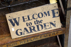 Welcome to the Garden. Wooden sign saying Welcome to the Garden, vintage style Stock Image