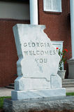 Welcome to Georgia. Stone monument at Georgia welcome center stock image