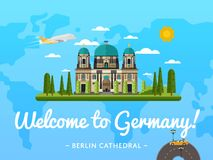 Welcome to Germany poster with famous attraction Royalty Free Stock Photos