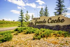 Welcome to Grande Cache, welcoming sign to the town, Canada. Welcome to Grande Cache, welcoming sign in Alberta, Canada stock images