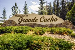 Welcome to Grande Cache, welcoming sign to the town, Canada. Welcome to Grande Cache, welcoming sign in Alberta, Canada stock photography