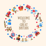 Welcome to Great Britain circle card with famous British symbols. Welcome to Great Britain vector flat design circle postcard template with Great Britain travel Royalty Free Stock Images