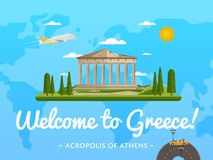 Welcome to Greece poster with famous attraction Stock Image