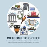 Greece travel welcome poster of Greek sightseeings and famous culture landmarks icons Stock Photo