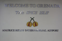 Welcome to Grenada sign at Maurice Bishop International Airport in Grenada Royalty Free Stock Photography
