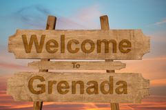 Welcome to Grenada sing on wood background Royalty Free Stock Image