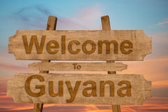 Welcome to Guyana sing on wood background Stock Images