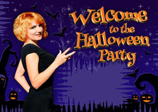 Welcome to the Halloween Party poster Stock Image