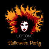 Welcome to Halloween Party Poster. Long haired Woman with fiery witch makeup. Vector illustration Royalty Free Stock Images