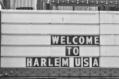 Welcome to harlem Usa Sign. In black and white Royalty Free Stock Photography