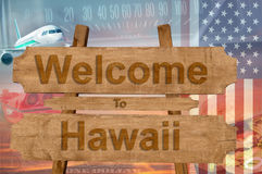 Welcome to Hawaii state in USA sign on wood, travell theme Stock Image