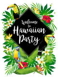 Welcome to Hawaiian party! Tropical birds, flowers, leaves. Royalty Free Stock Photos