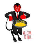 Welcome to Hell. Devil holding frying pan for sinners. Satan inv. Ites in purgatory. Red demon with horns and tail. Lucifer boss with horns. Religious and Stock Image
