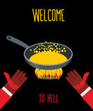 Welcome to hell. Heated frying pan with boiling oil. Hands of De. Vils. Inviting gesture. Flame of  burning Hells for sinners. Vector illustration Stock Image
