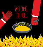 Welcome to hell. Heated frying pan with boiling oil. Hands of De. Vils. Inviting gesture. Flame of  burning Hells for sinners. Vector illustration Royalty Free Stock Photo