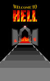Welcome to hell. Stairway to hell. Iron black gates of  Fiery pu. Rgatory. Door to devil, Satan. Stairs in Dungeon. Descent into deep dark cave. Vector Royalty Free Stock Photo