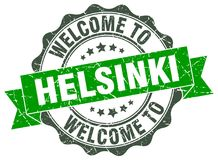 Welcome to Helsinki seal. Welcome to Helsinki round vintage seal Stock Photo