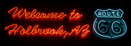 Welcome to Holbrook, Neon Sign. Route 66. stock photo