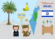 Welcome to Holy Land, israeli symbols set. Welcome to Israel, cartoon characters of girl soldier and religious jewish man, traditional israeli symbols set Royalty Free Stock Image