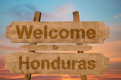 Welcome to Honduras sing on wood background Stock Photo