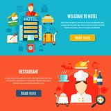 Welcome To Hotel And Restaurant Service Banners Royalty Free Stock Photo