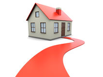Welcome to house. 3d illustration of gouse with red carpet road, over white background Royalty Free Stock Photos