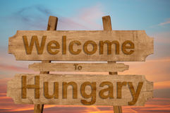 Welcome to Hungary sing on wood background Stock Photography
