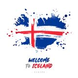 Welcome to Iceland. Flag and map of the country royalty free illustration