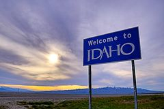 Welcome to Idaho. On the Utah line in the USA Royalty Free Stock Photo