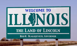 Welcome to Illinois. A welcome sign at the Illinois state line which bears the name of Governor Rod Blagojevich who was arrested on December 9th 2008 for Stock Photos