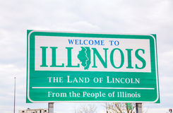 Welcome to Illinois sign. At the state border Royalty Free Stock Photography