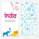 Welcome to India brochure. Hand drawing elements of India Royalty Free Stock Image
