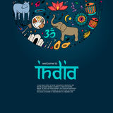 Welcome to India concept. Colorful hand drawn elements of India on a dark blue background Royalty Free Stock Images