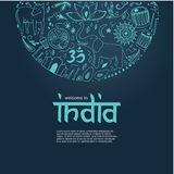 Welcome to India concept. Hand drawn elements of India on a dark blue background Stock Images