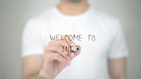 Welcome to India, man writing on transparent screen Royalty Free Stock Photography