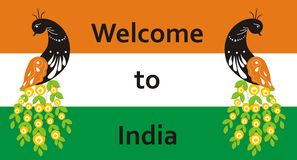 Welcome to India. Peacock on the background of the flag for your signs to the hotel or invitations. Vector illustration Stock Images