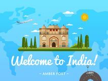 Welcome to India poster with famous attraction. Vector illustration. Travel design with Amber fort in Jaipur. Worldwide air traveling, time to travel, discover Stock Photo