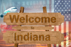 Welcome to Indiana state in USA sign on wood, travell theme Stock Photography