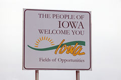 Welcome to Iowa sign. Seen against the clouds. Iowa, USA royalty free stock images