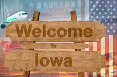 Welcome to Iowa state in USA sign on wood, travell theme Stock Photography