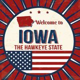 Welcome to Iowa vintage grunge poster vector illustration