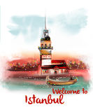 Welcome to istanbul vintage design poster on the white background Royalty Free Stock Image