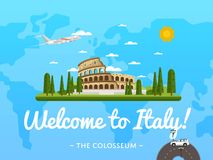 Welcome to Italy poster with famous attraction Stock Image