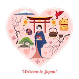Welcome to Japan. Japan travel background with Royalty Free Stock Photography